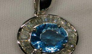 Liontin Batu Blue Topas